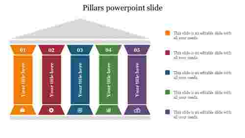 Creative five pillars powerpoint slide